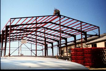Bau der Halle 3 für den Stahlbau, 1978